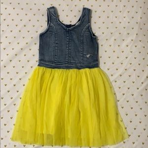 Guess denim and yellow tulle dress